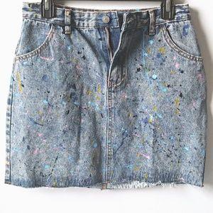 Glamorous Paint Splatter Denim Skirt